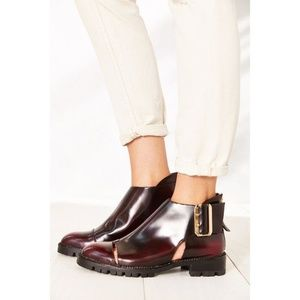 Jeffrey Campbell Flamel Cherry Red Cut Out Booties